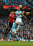 Chris Smalling of Manchester United challenges Vincent Kompany of Manchester City during the premier league match at the Etihad Stadium, Manchester. Picture date 7th April 2018. Picture credit should read: Simon Bellis/Sportimage