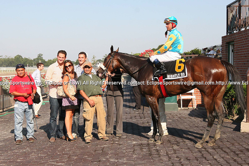 07 05 2010: NY-bred Rightly So with Cornelio Velasquez win the 54th running of the Grade III Bed O' Roses, 7 furlongs for fillies and mares, 3-year old & up.  Trainer Anthony W. Dutrow.  Owner Zayat Stables.