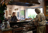 Los Angeles, California, November 14, 2009 - Diane and Ernie Wolfe in their home, based on a Quonset hut. The Wolfe's own the Ernie Wolfe Gallery and are the most reknowned African at dealers in the country. ..CREDIT: Daryl Peveto for The Wall Street Journal.Homefront - Ernie Wolfe #1348.