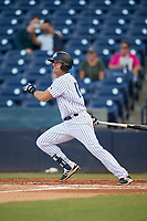 Tampa Tarpons catcher Keith Skinner (10) grounds out during a game against the Daytona Tortugas on April 18, 2018 at George M. Steinbrenner Field in Tampa, Florida.  Tampa defeated Daytona 12-0.  (Mike Janes/Four Seam Images)