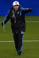 Argentina soccer coach Alejandro Sabella gives instructions to his players during a practice at Red Bull stadium ahead of his friendly match against Ecuador in New Jersey, Nov 13, 2013. VIEWpress/Eduardo Munoz Alvarez