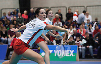 17 OCT 2009 - LOUGHBOROUGH, GBR - Jenny Wallwork, watched by Jessica Fletcher, returns during their womens doubles match at the Team England v Japan International (PHOTO (C) NIGEL FARROW)