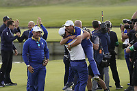 Team Europe celebrations go wild on the 18th green at the Ryder Cup, Le Golf National, Iles-de-France, France. 30/09/2018.<br /> Picture Claudio Scaccini / Golffile.ie<br /> <br /> All photo usage must carry mandatory copyright credit (&copy; Golffile | Claudio Scaccini)