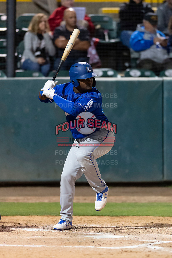 Rancho Cucamonga Quakes left fielder Starling Heredia (34) during a California League game against the Visalia Rawhide on April 9, 2019 in Visalia, California. Visalia defeated Rancho Cucamonga 8-5. (Zachary Lucy/Four Seam Images)