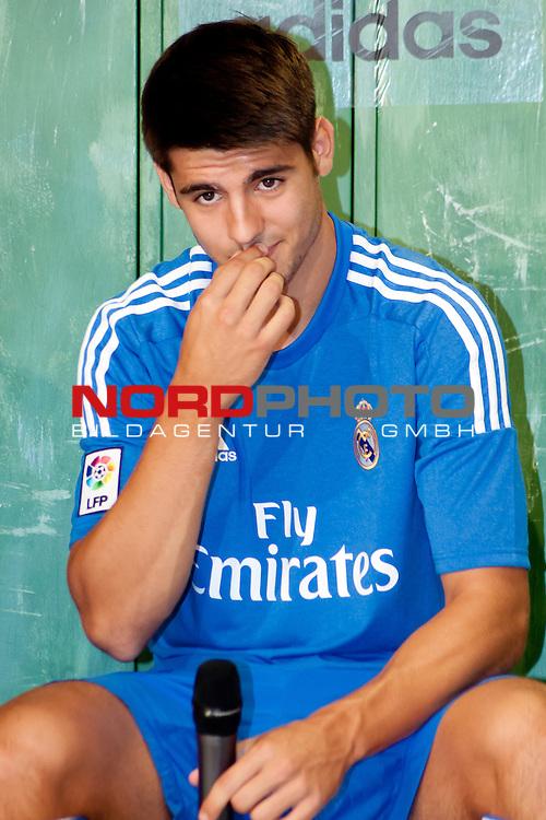 Presentation of the second Real Madrid Kit for the season 2013-2014. July 25, 2013. Foto &not;&copy; nph / Adrian P. Rincon)<br /> &sbquo;ą&ouml;&radic;&Ouml;lvaro Morata *** Local Caption ***
