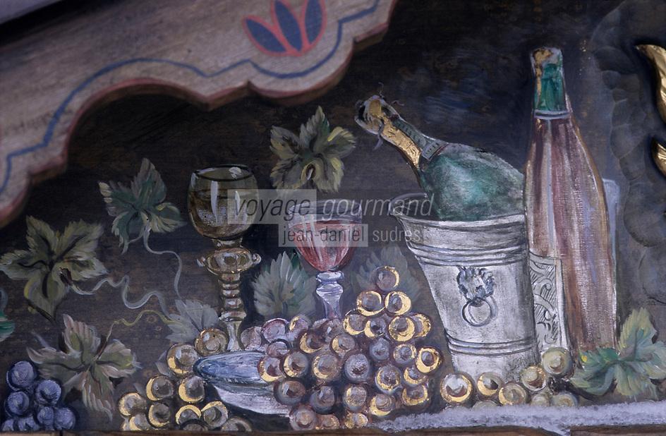 Europe/Allemagne/Forêt Noire/Hausern : Hôtel Adler - Enseigne sur le thème du vin