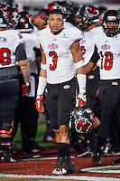 Arkansas State defensive back Rocky Hayes (3) during pregame warm up before NCAA Football game kickoff, Thursday, November 20, 2014 in San Marcos, Tex. Texas State defeated Arkansas State 45-27. (Mo Khursheed/TFV Media via AP Images)