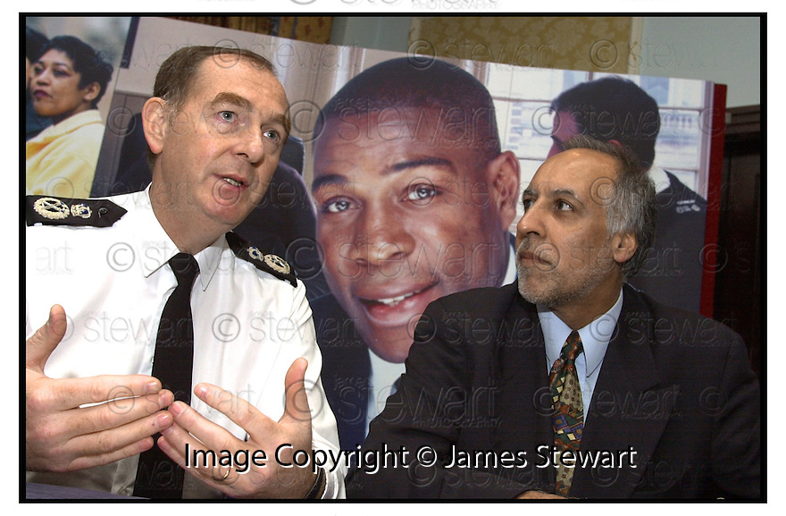 10th May 2001      Copright Pic : James Stewart.Ref :                           .File Name : stewart08-safer central.CENTRAL SCOTLAND POLICE CHIEF CONSTABLE ANDREW CAMERON AND GURBUX SINGH, CHAIRPERSON OF THE COMMISSION FOR RACIAL EQUALITY, AT THE CENTRAL SCOTLAND POLICE'S SAFER CENTRAL DIVERSITY STRATEGY LAUNCH.....(see copy from Jim Davis).Payments to :-.James Stewart Photo Agency, Stewart House, Stewart Road, Falkirk. FK2 7AS      Vat Reg No. 607 6932 25.Office : 01324 630007        Mobile : 0421 416997.E-mail : jim@jspa.co.uk.           : jim@jamesstewart.co.uk.If you require further information then contact Jim Stewart on any of the numbers above.........
