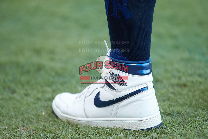 A close-up of the Air Jordan sneakers that Clint Frazier (77) had converted into cleats prior to the game against the Gwinnett Stripers at Coolray Field on August 16, 2019 in Lawrenceville, Georgia. The Stripers defeated the RailRiders 5-2. (Brian Westerholt/Four Seam Images)