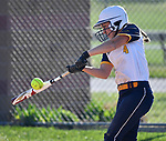 O'Fallon batter Miley Brunner connects with the ball late in the game. O'Fallon High School defeated Triad High School in girls softball on Friday April 27, 2018.