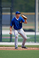 Toronto Blue Jays first baseman Kacy Clemens (23) waits for a throw during an Instructional League game against the Philadelphia Phillies on October 7, 2017 at the Englebert Complex in Dunedin, Florida.  (Mike Janes/Four Seam Images)
