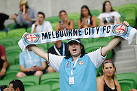 City's supporter  during the  A-League soccer match between Melbourne City FC and Perth Glory at AAMI Park on February 22, 2015 in Melbourne, Australia.