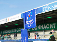 17th November 2019; The Sportsground, Galway, Connacht, Ireland; European Rugby Champions Cup, Connacht versus Montpellier; View of the Champions Cup corner flag at The Sportsgrounds - Editorial Use