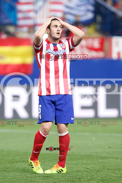 Atletico de Madrid´s Koke regrets missing a goal chance during 16th Champions League soccer match at Vicente Calderon stadium in Madrid, Spain. March 11, 2014. (ALTERPHOTOS/Victor Blanco)