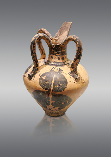 Minoan long spouted rhython decorated with a pomegranate, Zakros Palace  1500-1450 BC; Heraklion Archaeological  Museum, grey background.