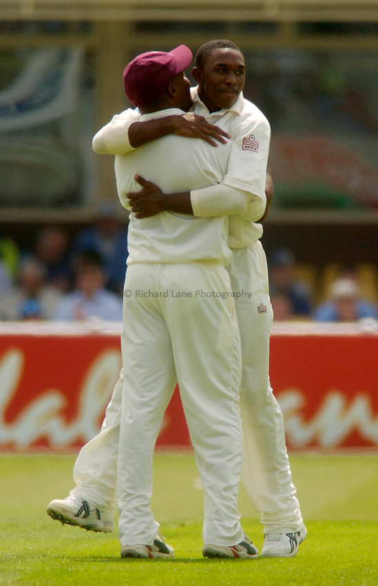Photo. Glyn Thomas. England v West Indies. Second Test Day Two. Edgbaston. 30/07/2004..Dwayne Bravo celebrates taking a wicket....