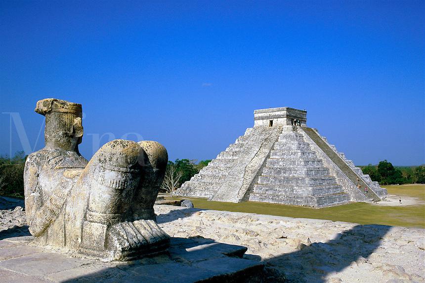Mexico,Chichen Itza, El Castillo. view from The Temple of the Warriors towards El Castillo statue Chac Mool was the Mayan rain god Mexico Yucatan Chichen Itza