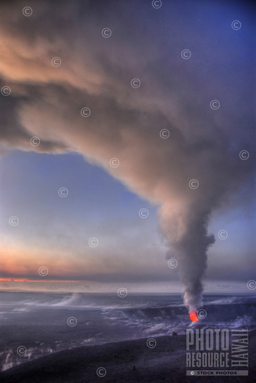 Halema'uma'u crater with large rising plume of volcanic ash cloud at Hawai'i Volcanoes National Park, Big Island of Hawai'i.