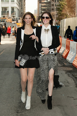 NEW YORK, NY - FEBRUARY 13: Model Coco Rocha and friend seen walking around at  Lincoln Center during Mercedes-Benz Fashion Week Fall 2013 on February 13, 2013 in New York City. © Diego Corredor/MediaPunch Inc.