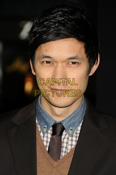 "Harry Shum Jr..The World Premiere of ""New Year's Eve' held at The Grauman's Chinese Theatre in Hollywood, California, USA..December 5th, 2011.headshot portrait brown check shirt tie blue collar white.CAP/ADM/BP.©Byron Purvis/AdMedia/Capital Pictures."