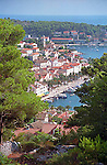 Hilltop view of the Croatian Island town of Hvar and its waterfront.