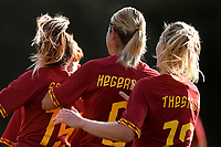 Annamaria Serturini of AS Roma  (L) celebrates with team mates Andrine Stolsmo Hegerberg and Amalie Thestrup after scoring the goal of 1-2 <br /> Roma 8/9/2019 Stadio Tre Fontane <br /> Luisa Petrucci Trophy 2019<br /> AS Roma - Paris Saint Germain<br /> Photo Andrea Staccioli / Insidefoto