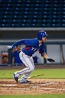 AZL Rangers shortstop Chris Seise (8) starts down the first base line against the AZL Cubs on July 24, 2017 at Sloan Park in Mesa, Arizona. AZL Cubs defeated the AZL Rangers 2-1. (Zachary Lucy/Four Seam Images)