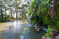 Krause Springs natural swimming hole on a bluff overlooking Cypress Creek -Stock Photo Image Gallery