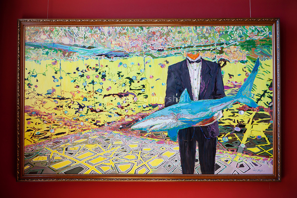 Painting 'Honourable Avidity' by You Jin on display as part of the shark exhibition at the Musée Océanographique, Monaco, 5 July 2013.