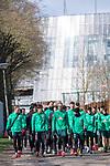 12.03.2020, Trainingsgelaende am wohninvest WESERSTADION,, Bremen, GER, 1.FBL, Werder Bremen Training, im Bild<br /> <br /> Die Mannschaft kommt zum Training - im HIntergrund das Weserstadion <br /> Kevin Vogt (Werder Bremen  #03)<br /> Yuya Osako (Werder Bremen #08)<br /> Milot Rashica (Werder Bremen #07)<br /> Davie Selke (Neuzugang SV Werder Bremen #09)<br /> <br /> Ludwig Augustinsson (Werder Bremen #05)<br /> <br /> Foto © nordphoto / Kokenge