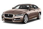 2015 Jaguar XE R-Sport 4 Door Sedan Angular Front stock photos of front three quarter view