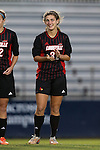 04 October 2014: Louisville's Victoria Martinis. The Duke University Blue Devils hosted the University of Louisville Cardinals at Koskinen Stadium in Durham, North Carolina in a 2014 NCAA Division I Women's Soccer match. The game ended in a 0-0 tie after double overtime.