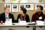 WATERBURY , CT-011619JS05- Nancy Merbaum, with Visiting Nurse Services of Connecticut, center, asks a question as Shaun Calhoun of Torrington Savings Bank, left, and Lucien Francillette of Becton Dickinson &amp; Co., right, look on, during leadership classes for members of the Waterbury Regional Chamber and the Northwest Connecticut Chamber of Commerce held Wednesday at the Republican-American building in Waterbury. <br /> Jim Shannon Republican American