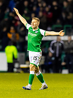 28th February 2020; Easter Road, Edinburgh, Scotland; Scottish Cup Football, Hibernian versus Inverness Caledonian Thistle; Greg Docherty of Hibernian celebrates after scoring hibs third goal for 3-0 in the 73rd minute