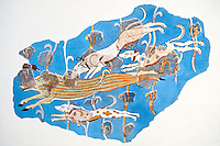 Mycenaean Fresco wall painting of a Wild Boar Hunt from the Tiryns, Greece. 14th - 13th Century BC. Athens Archaeological Museum.