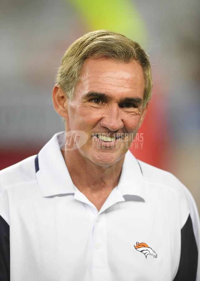 Aug. 29, 2008; Glendale, AZ, USA; Denver Broncos head coach Mike Shanahan against the Arizona Cardinals at University of Phoenix Stadium. Mandatory Credit: Mark J. Rebilas-