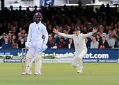 9th September 2017, Lords Cricket Ground, London, England; International test match series, third test, Day 3; England versus West Indies; England Captain Joe Root appeals as West Indies Jermaine Blackwood narrowly escapes being bowled out Leg Before Wicket by England Bowler Stuart Broad
