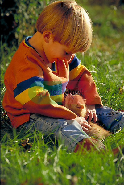 young boy playing with kitten