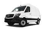 Stock pictures of low aggressive front three quarter view of 2017 Mercedes Benz Sprinter Base 4 Door Cargo Van