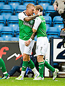 HIBERNIAN'S GARRY O'CONNOR CELEBRATES WITH DAVID WOTHERSPOON AFTER HE SCORES HIBS FIRST