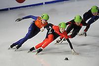SCHAATSEN: DORDRECHT: Sportboulevard, Korean Air ISU World Cup Finale, 11-02-2012, Jorien ter Mors NED (144), Marianne St-Gelais CAN (106), Jianrou Li CHN (110), ©foto: Martin de Jong