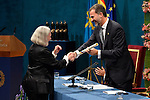 Prince Felipe of Spain gives to Saskia Sassen the Prince of Asturias Award for Social Sciences during the 2013 Prince of Asturias Awards ceremony at the Campoamor Theater in Oviedo, Spain. October 25, 2013..(ALTERPHOTOS/Victor Blanco)
