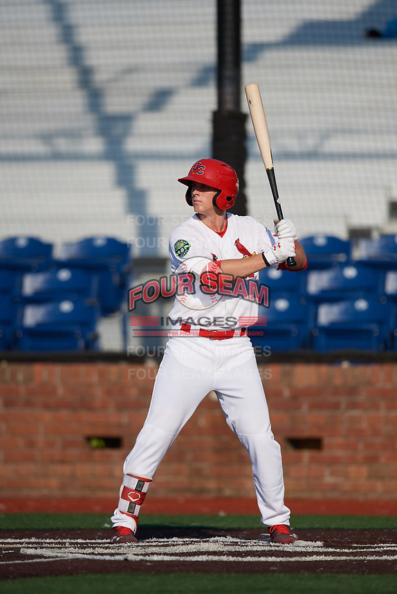 Johnson City Cardinals third baseman Nolan Gorman (4) at bat during a game against the Danville Braves on July 29, 2018 at TVA Credit Union Ballpark in Johnson City, Tennessee.  Johnson City defeated Danville 8-1.  (Mike Janes/Four Seam Images)