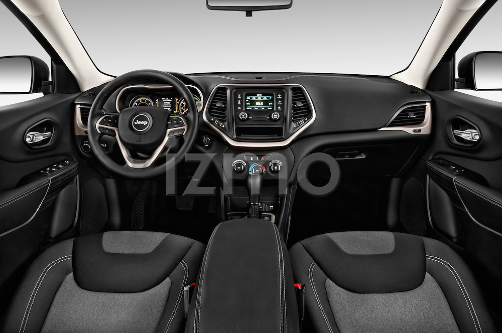 Stock photo of straight dashboard view of 2014 JEEP Cherokee Longitude 4 Door SUV Dashboard