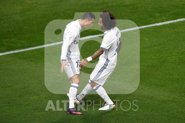 Real Madrid's Cristiano Ronaldo (l) and Marcelo Vieira celebrate goal during La Liga match. November 19,2016. (ALTERPHOTOS/Acero)