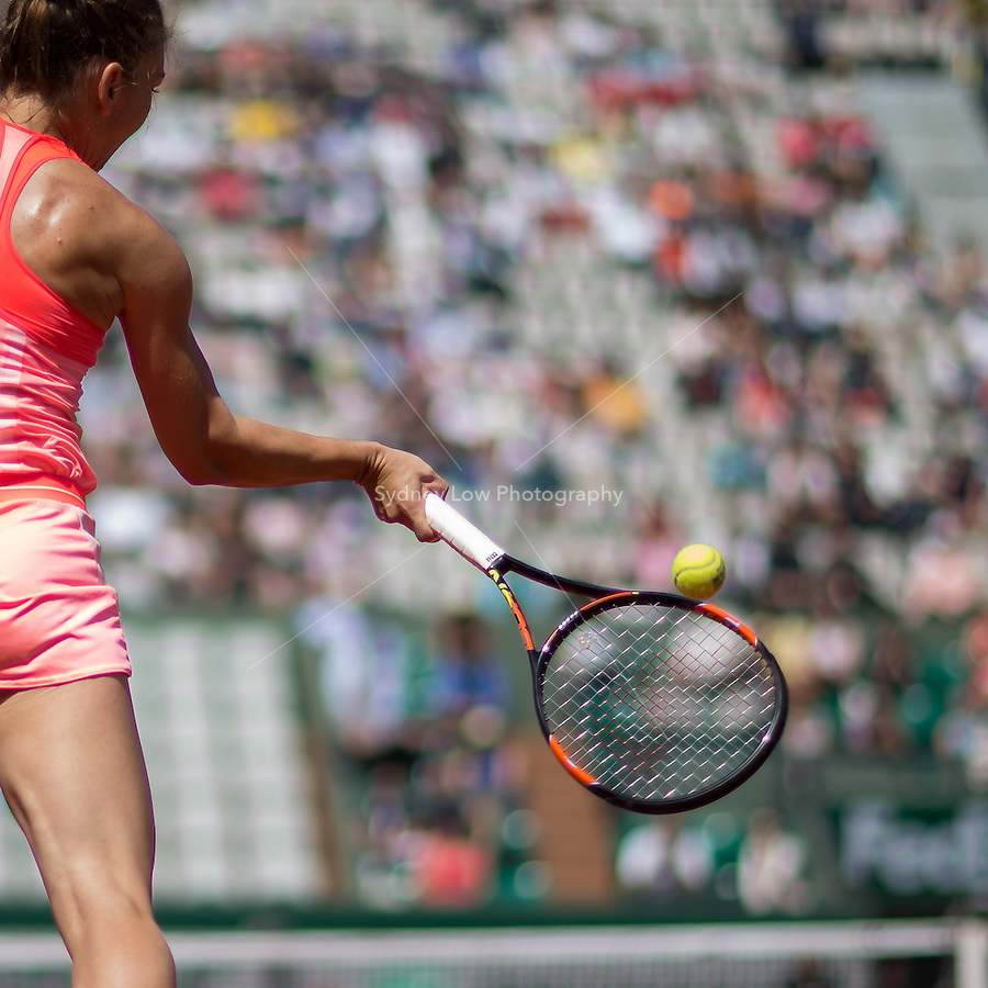 May 27, 2015: Simona Halep of Romania in action in a 2nd round match against Mirjana Lucic-Baroni (CRO) on day four of the 2015 French Open tennis tournament at Roland Garros in Paris, France. Sydney Low/AsteriskImages