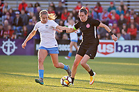 Portland, OR - Sunday March 11, 2018: Alyssa Mautz, Emily Menges during a National Women's Soccer League (NWSL) pre season match between the Portland Thorns FC and the Chicago Red Stars at Merlo Field.