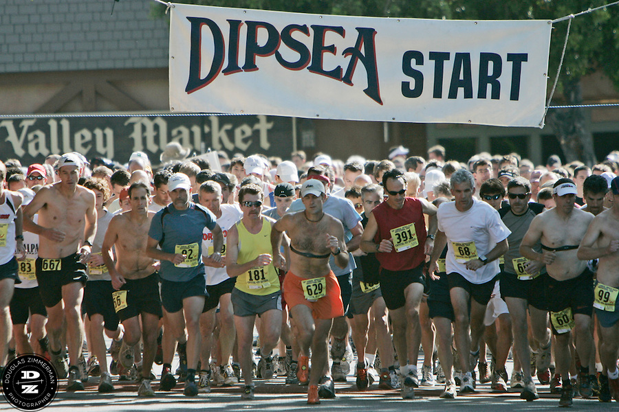 A group of runners for the 98th Dipsea Race take off from the starting line in downtown Mill Valley, Calif. enroute to Stinson Beach over Mt. Tamalapais  on Sunday, June 8, 2008.