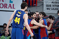 FC Barcelona Regal's Ante Tomic, Erazem Lorbek, Juan Carlos Navarro, Sarunas Jasikevicius and Victor Sada celebrate the victory in the Spanish Basketball King's Cup Final match.February 07,2013. (ALTERPHOTOS/Acero)