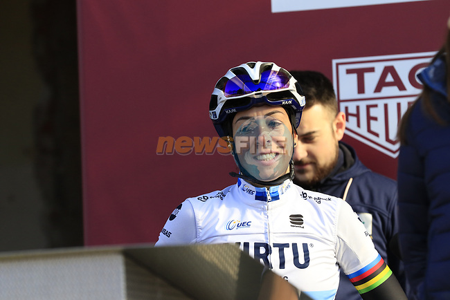 European Champion Marta Bastianelli (ITA) Team Virtu Cycling at sign on before the Strade Bianche Women Elite 2019 running 133km from Siena to Siena, held over the white gravel roads of Tuscany, Italy. 9th March 2019.<br /> Picture: Eoin Clarke | Cyclefile<br /> <br /> <br /> All photos usage must carry mandatory copyright credit (© Cyclefile | Eoin Clarke)